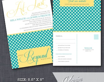 Modern Wedding Invitation with perforated rsvp postcard. . . .by Maxim Creative Invites