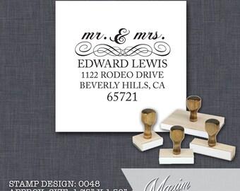 Wood Handle Rubber Stamp - Address Stamp, Gifts for Wedding, Housewarming, Etsy Labels, Return Address Stamp, Christmas Card - Design 0048
