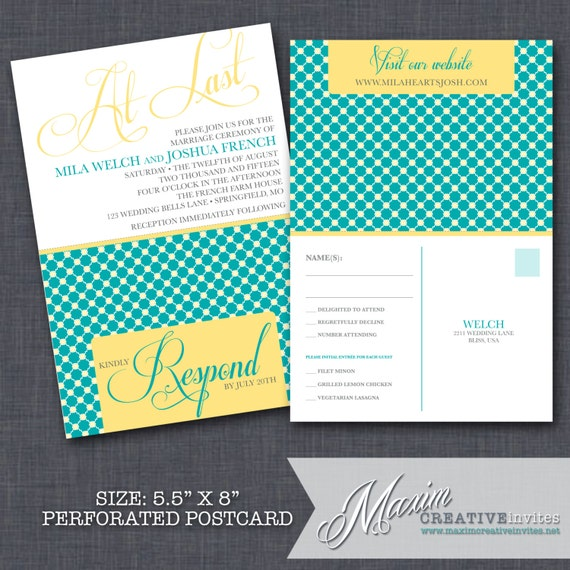 Modern Wedding Invitation With Perforated By MaximCreativeInvites