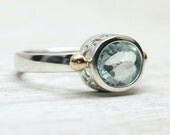 Aquamarine Gemstone Ring in Sterling Silver, custom sized stacking ring with art deco