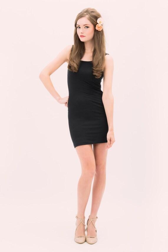 Jane- Mini Bodycon Dress - black mini dress - black slip dress - black tank dress