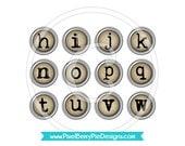 Vintage Typewriter Keys (1 inch Printable Circles) - Antique Silver-rimmed Alphabet Buttons - Digital Collage Sheet PDF (Instant Download)