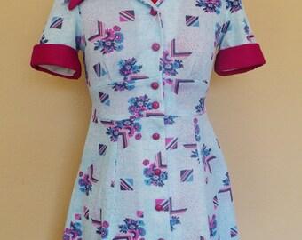Vintage 60s GO GO Mini Dress / Blue And Purple Geometric FLORAL Print / Womens Small Medium / Baby Doll Dress