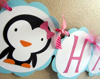 Penguin Party Happy Birthday Banner, Penguin Birthday Party, Penguin Party Banner, Penguin Party Sign, Penguin Banner, Penguin Party