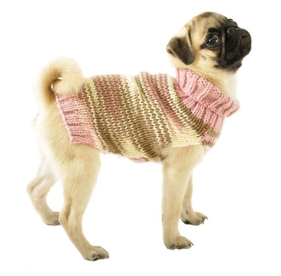 Knitting Patterns For Xxs Dogs : Knitted Dog Sweater Sizes XXS to Large in Pink Brown & Ivory
