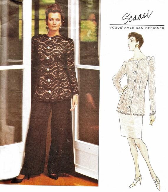 SCASSI Vogue 1286 Evening Jacket Skirt Wide Leg Pants (12-16) American Designer Sewing Pattern