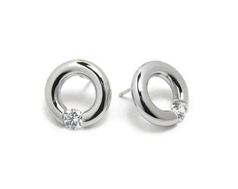 White Sapphire Stud Post Tension Set Earrings in Steel Stainless