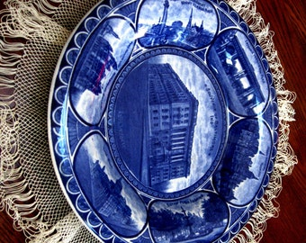 Vintage Souvenir Plate Baltimore Rowland and Marsellus Flow Blue White Transferware Rolled Edge 1900s