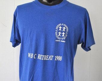 Near Burnout Super Soft n Thin Royal Blue Tshirt Church Retreat CT LARGE
