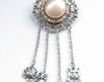 Vintage Button Brooch, Vintage Chatelaine Brooch, Vintage Pearl Earring Repurposed, free shipping, cat jewelry, animal jewelry, rose, owl