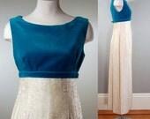 1960's Aqua Velvet and Cream Tapestry Gown, S/M