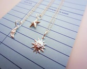 Best friend gift. Silver sun, moon, star friendship necklaces. Set of two or three three, bright silver-plated tiny charms. Two-sided star.