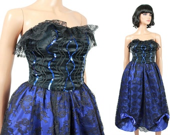 80s Prom Dress Jrs XS Vintage Strapless Black Lace Blue Satin Long Gown Costume Free US Shipping