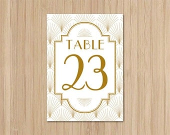 Instant Download - Art Deco Wedding - 4x6 Table Numbers - The Charleston - Gatsby Wedding