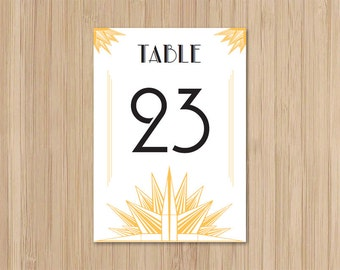 Instant Download - Art Deco Wedding - Table Numbers - Deco Blanc Starburst - Gatsby Wedding