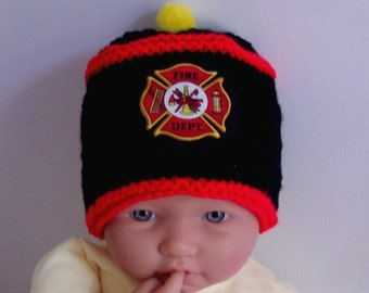 Custom handmade  knit Fireman Firefighter fire Rescue Baby hat cap beanie badge of courage appliqued shield