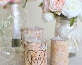 Personalized Birch Candle Holders Rustic Wedding by Morgann Hill Designs #MorgannHillDesigns #BraggingBags (Item Number MHD20048)