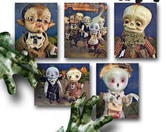 Back to School - Set of 5  Halloween Postcards - monsters zombie  werewolf  skull rag doll ghost spider vampire freak spooky horror