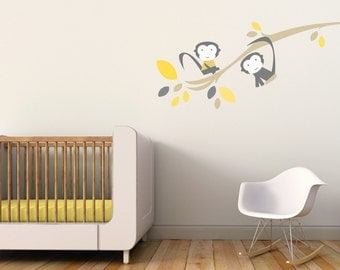 Monkey hanging from a tree decor. Branch with Monkeys Children Wall Decal