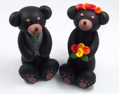 Bear Cake Topper, Wedding Cake Topper, Black Bear Figurine