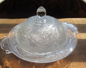 Antique Anchor Hocking Sandwich  Dome Butter Dish