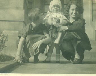 All Dressed Up Toddler Girl in Fur Hat Coat With Mom Sister Flappers 1920s Antique Vintage Black and White Photo Photograph