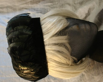 Vintage Black Velvet and Iridescent Feather Pillbox Hat