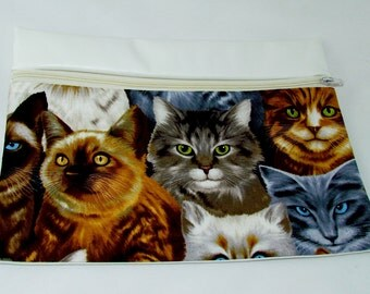 CLUTCH - Only Cats (Pleather/ Cotton) **handmade**Kindle**iPad mini** Case**