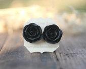 Large Black Rose Flower Earrings // Bridesmaid Gifts // Modern Wedding Jewelry // Vintage Dark Wedding // Goth Wedding