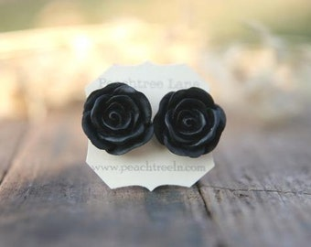 Large Black Rose Flower Earrings // Bridesmaid Gifts // Modern Wedding Jewelry // Vintage Dark Wedding // Goth Wedding
