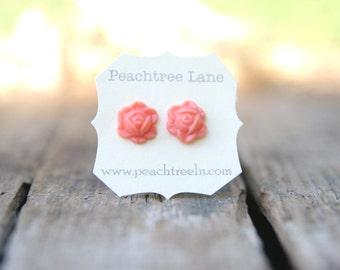 Coral Pink Rose Flower Earrings // Bridesmaid Earrings // Bridesmaid Gifts // Rustic Vintage Weddig