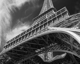 Eiffel Tower Print, Black and White Photo Paris Photography France Photograph Dreamy Wall Art Home Decor par78