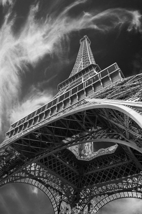 Eiffel Tower Print Black and White Photo Paris Photography