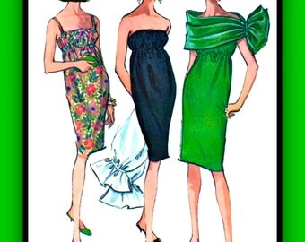 UNCUT 1960's Vintage McCall's Pattern 7764 - GORGEOUS Cocktail Party Evening Dress and Evening Wrap // FF // Bust 32