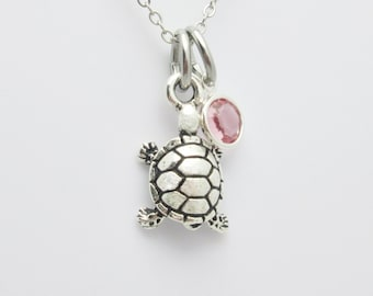Turtle Necklace, Silver Turtle Charm, Pink Swarovski Crystal Accent, Three Dimensional Turtle, Animals and Nature Themed Jewelry A025
