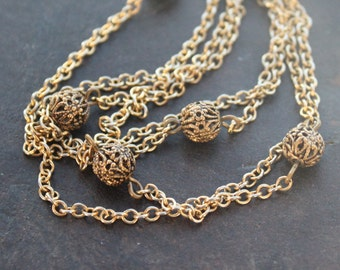 Long Art Deco Chain Necklace with Filigree Bead Stations