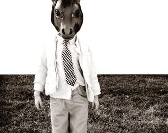 Horse Mask Portrait Black and White Fine Art Print--Little Boy Animal Mask Neck Tie Jacket Quirky Home Decor Wholesale