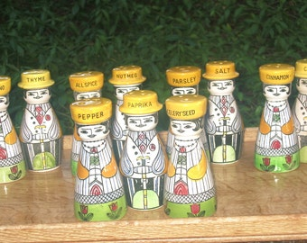 11 Shaker People, hand painted vtg Spice bottles, Ladies and Gents set