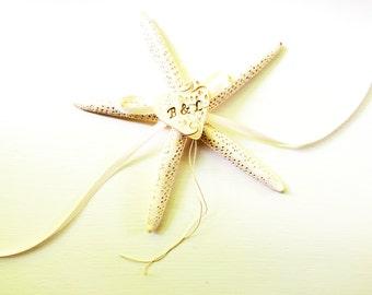 Starfish Ring Pillow Beach Wedding Personalized Ring Bearer Wedding Ring Holder Pillow Alternative Ivory Pencil White Finger Starfish