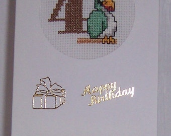 AGE 4 Parrot Cross Stitch Card suitable for a childs birthday,Birthday card, greeting card, animal cross stitch