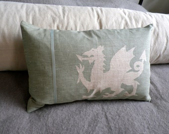 handprinted duck egg and ivory dragon cushion cover