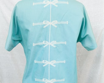 50s embroidered bow back top M/L