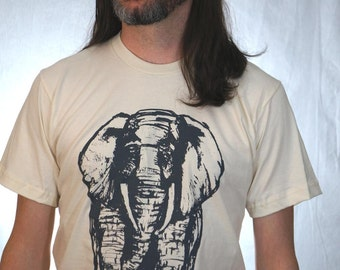 African Elephant Hand Drawn Design on Organic American Apparel Natural Tee for Men
