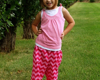 """Girls Ruffle Pants- Hot Pink and Light Pink Chevron - Made from Viola Lee Pattern """"Emma Lee"""""""