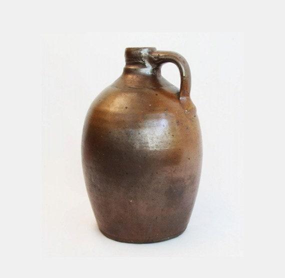antique pottery jug little brown jug moonshine bottle