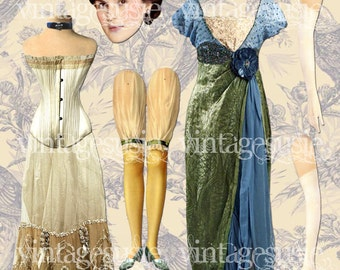 MARY DOWNTON ABBEY Digital Paper Doll Vintage Edwardian Collage Sheet Digital Download