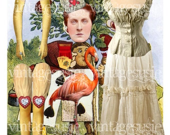 FAIRYTALE Series Art Paperdoll Collage Sheet 'QUEEN of HEARTS' Digital Download