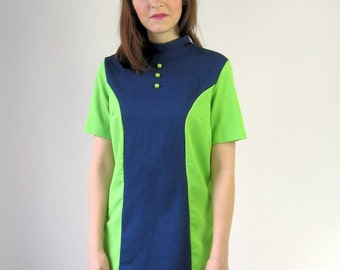 60s Mod Micro Mini Dress Vintage Tunic Top Navy Blue Neon Green Color Block Extra Small