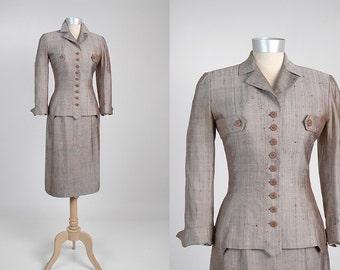SALE! Rare IRENE LENTZ Vintage 1950's Suit Silk Shantung Herringbone 50's 1940's 40's