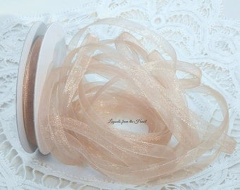 Pale Toffee Brown Shimmering Sheer 1/4 inch ribbon 5 yards, pastel trim Embellishment for scrapbooks, cards, tags, crafts